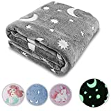 Glow in The Dark Throw Blanket Grey Moon Star Personalized Gifts for Girls Boys and Adults Cozy...