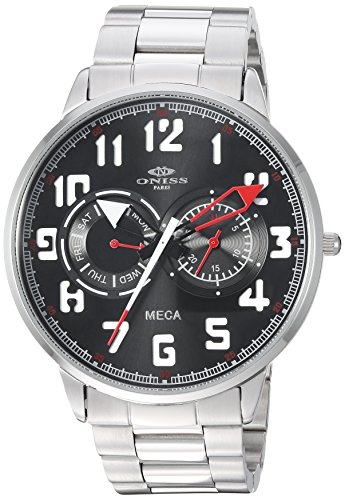Oniss Paris Men's ON2233-MBK_RD MECA Collection Analog Display Automatic Self Wind Silver Watch
