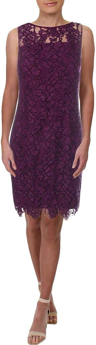 Lauren by Ralph Lauren Women's Scalloped Lace Dress (6, Plum)