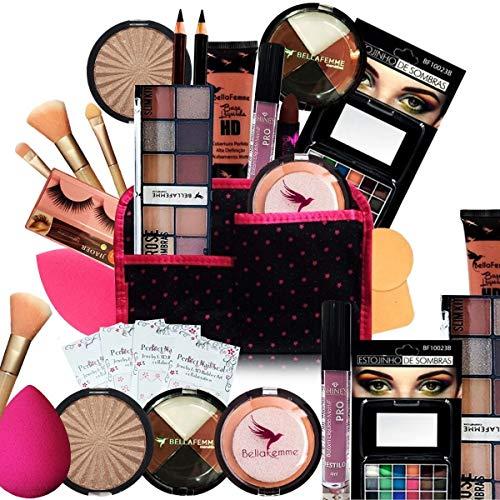 Kit Maquiagem Pincel Completo Bella Femme 23 Itens (Pele Morena)