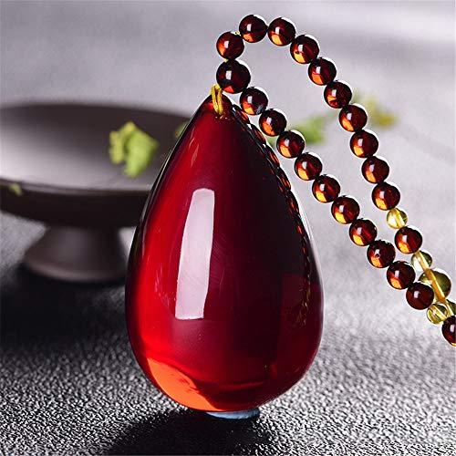 XIAOHNNL Ambra baltica Blood Crimson Amber Water Drop Sweater Chain Pietra Grezza Cera d'api Ciondolo di Sicurezza Collana per Uomo e Donna Dropship | Pendenti |