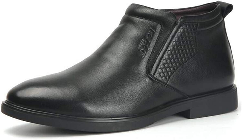 Y Y Y -H Mann's läder skor, Fall Winter Plus Cashmere Warm Windove High -Sup Booslipss, Flat Heel Comfort Driving skor Business skor Formal Business skor (Färg  svart, Storlek  44)  den mest fashionabla