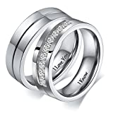 Aeici Rings for Women Men Engraving I Love You & I Know His Hers Matching Set Band Size 9 & 10