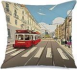 Decoración Throw Pillow Cover Funda de cojín Excursión Tram Street en Lisboa Exterior Portugal Old Hand City Architecture Beautiful Book Funda de Cojine 45 X 45CM