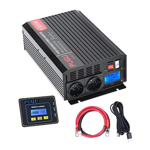 Wechselrichter Reiner Sinus 1000W/2000 Watt 12v auf 230v Auto Wechselrichter Umwandler Spannungswandler mit 3 Meter Fernbedienung, LCD und Kabel