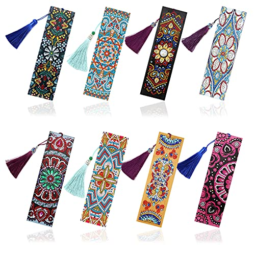 8 Pack 5D Diamond Painting Bookmarks with DIY Tools, EsLuker.ly Exquisite Beaded Floral Bookmark with Leather Tassel Bookmarks for Kids Women Men Beginner Birthday Embroidery Art Crafts
