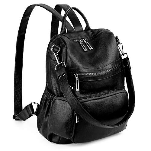 UTO Women Backpack Purse Convertible Ladies Rucksack Zipper Pocket Shoulder Bag with Detachable Pouch Vegan Leather Black