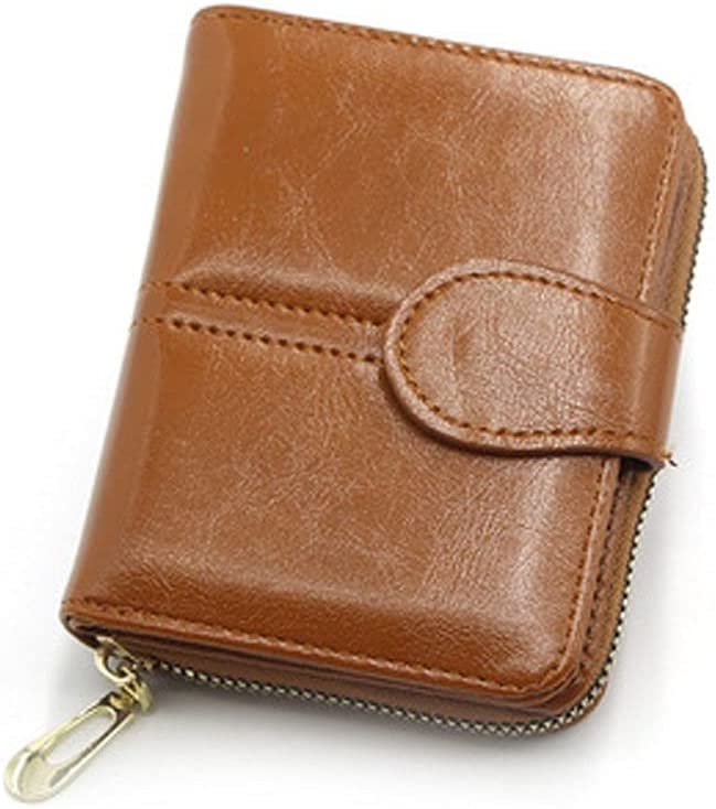 PU Leather Zipper Bus Card Credit ID Card Short Wallet Coin Pouch Card Holder Coin Purse(Brown)