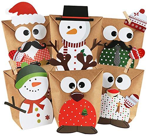 ABSOFINE 24 Adventskalender zum Befüllen-Papiertüten Süßigkeiten Eulen Rentiere Weihnachtsmann Schneemann - Weihnachten Parteien Geschenktüten mit Aufkleber zum Gestalten und selber Füllen