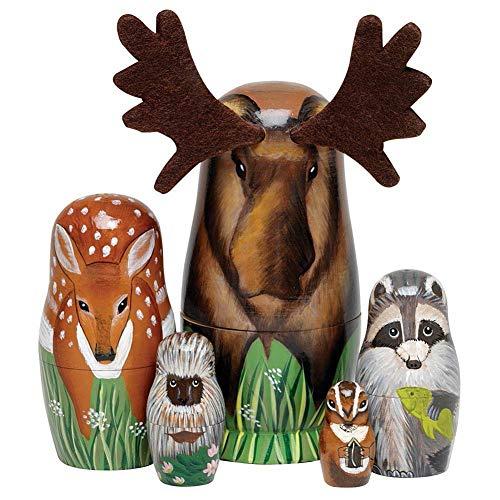 KingbeefLIU 5 Pezzi/Set Bambole di Nidificazione in Legno Dipinte A Mano Cervo Matrioska Figurine di Animali Giocattolo Cresce con I Bambini Sviluppare Intelligenza
