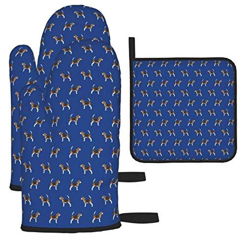 LCYYDECO Beagle Dog Dogs Design Royal Blue Guantes-Guantes para Horno y Soportes...