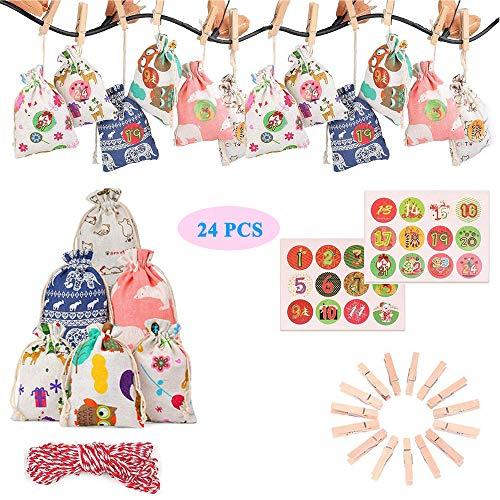 OZUKO Adventskalender Zum Befüllen, 24 Jutesäckchen für Adventskalender Stoffbeutel mit Weihnachtlichen Aufklebern, Weihnachtskalender Taschen Geschenksäckchenn mit 1-24 Adventszahlen Aufkleber