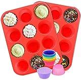 Molde de Silicona para Muffins, Paquete de 2 moldes de Silicona, Molde Antiadherente para Hornear Muffins con 12 Tazas de Silicona para Hornear para Muffins o Cupcakes, Utensilios para Hornear