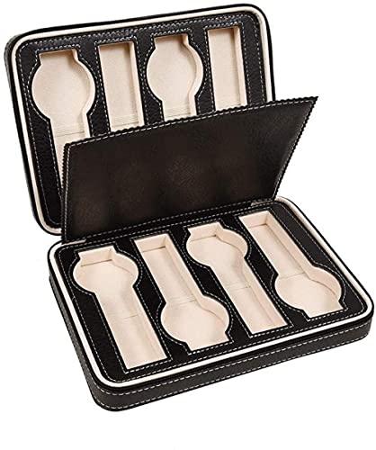 Caja para relojes con 8 ranuras con cremallera, caja de almacenamiento para mostrar joyas, para hombres y mujeres, moda