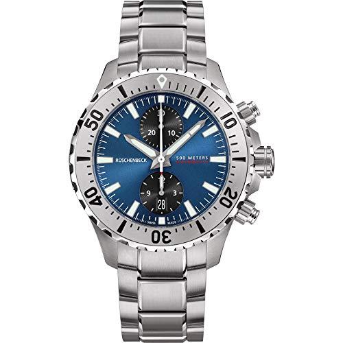 Rüschenbeck The Watch Automatik Herrenuhr R5CHRONO Taucheruhr 316L Edelstahl 44 mm Saphirglas Edelstahlarmband Wasserdicht 500 m blau/Silber R5-S-MB-S-41-I-SLN2