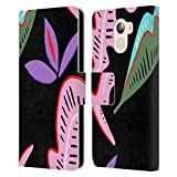 Official Haroulita Abstract Leaf Plants Leather Book Wallet