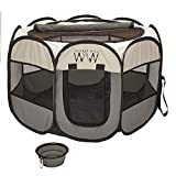 Protect Your Furry Friend from The Sun! Portable Pet Playpen for Small Dogs and Cats- Quality Foldable Pet Playpen with Roll-Up Shade Cover, Watch Our Video! Dog Tent, Cat Tent, Puppies, Kittens