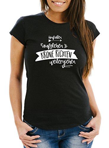 MoonWorks Damen T-Shirt mit Spruch, Hinfallen aufstehen Krone richten weitergehen, tailliert Slim Fitaus Baumwolle schwarz XS