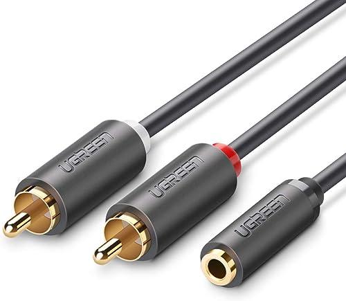 UGREEN Câble RCA Audio 3.5mm Femelle vers 2 RCA Mâles Adaptateur Cinch Câble Compatible avec Téléphone TV PC Tablette...