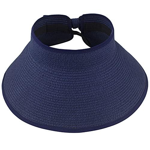 Muryobao Visera enrollable para mujer, sombrero de paja de ala ancha, plegable, protección UV, para viajes en la playa - negro - Talla única