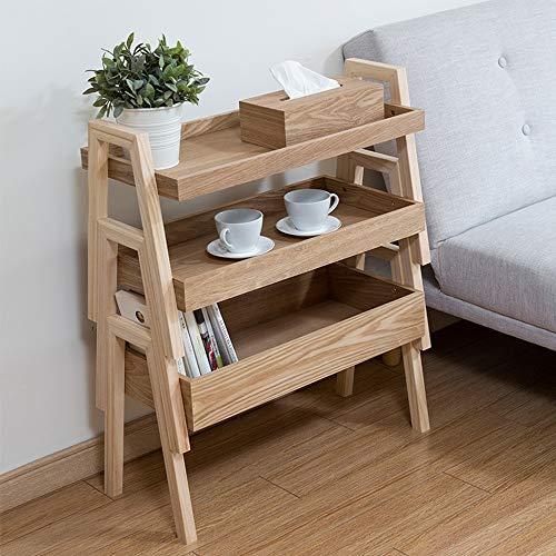 YINUO Supports de plancher à plusieurs étages en bois massif Supports à fleurs et supports à viande Supports de stockage classifiés Supports de rangement en bois Couleur du bois Taille: 65x30x77cm
