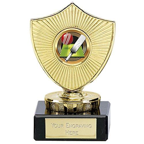 10cm cricket Trophy 25mm Farbe mitte auf Marmorsockel gratis Gravur bis zu 30Buchstaben
