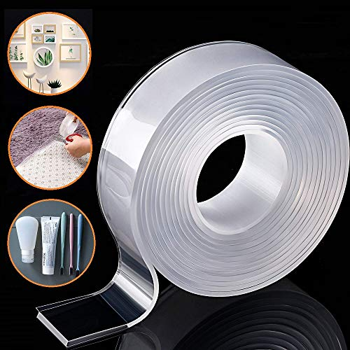 Removable Adhesive Nano Gel Tape - Washable Strong Adsorption Double Sided Clear Silicone Traceless Tape for Wall,Kitchen,Carpet,Photo Fixing by Honwally (3 Meters)