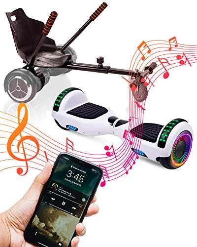 """ACBK Bluetooth UL2272 Hoverboard + Silla Kart, Juventud Unisex, Blanco, Rueda LED 6.5"""""""