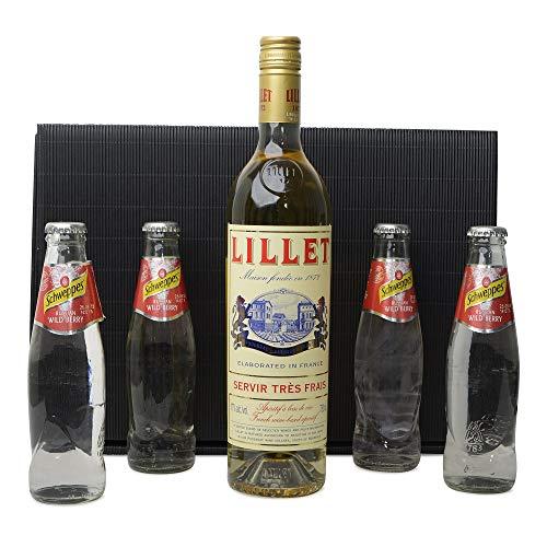 1 Flasche Lillet Blanc 17% Vol. 0,75l + Schweppes Russian Wild Berry 4x 0,2l im Geschenk Karton