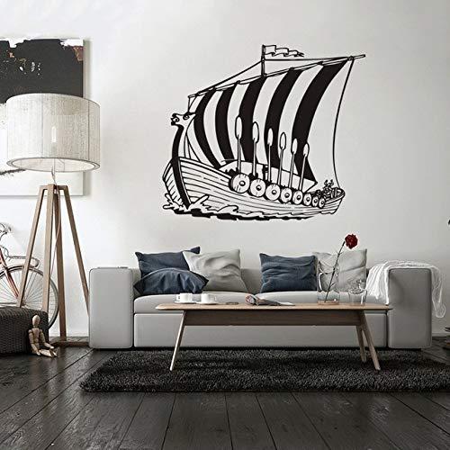 Wandaufkleber, 57x66cm, Home Decor Vinyl Aufkleber Antike Wikinger Schiff Wandtattoo Poster Meer Ozean Stil Wandkunst Wandbild Vinyl Aufkleber für Wände