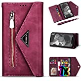 iPhone Xs Wallet Case for Women/Girl,iPhone X Case with Card Holder,Vodico Leather Folio Flip Luxury Zipper Pocket Hand Clutch Purse Folding Magnetic Full Body Shockproof Stand Case with Strap (Red)