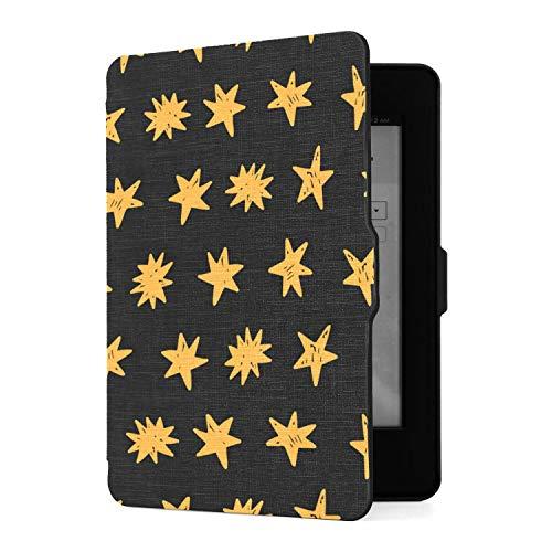 Funda para Kindle Paperwhite 1 2 3, Estrellas Doradas sobre Funda de Piel sintética Negra con Smart Auto Wake Sleep para Amazon Kindle Paperwhite (se Adapta a Las Versiones 2012, 2013, 2015)