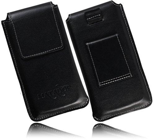 MATADOR Echt Ledertasche Kompatibel mit Samsung A50 / A51 / A30 Handytasche Hülle Schutz Etui Vertikaltasche mit Magnetverschluss Gürtelschlaufe (Schwarz/Black)