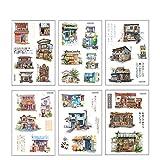 CAOLATOR 6 Blatt Stickerbuch Deko Aufkleber Stickeralbum Scrapbooking Sticker Japanisches Haus Tagebuch Fotoalbu Notizbuch Kalender Dekoration