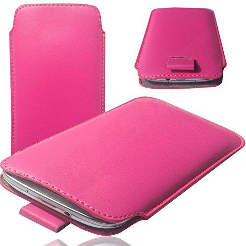 MOELECTRONIX HQ PINK Slim Cover Hülle Schutz Hülle Pull UP Etui Smartphone Tasche passend für JIAYU G4 G4S G4C