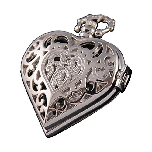VIGOROSO Women's Steampunk Pocket Watch Heart Harry Potter Locket Style Pendant Necklace Chain in Box(Silver)
