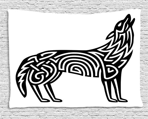 Lunarable Crying Wolf Tapestry, Monochrome Celtic Pattern of Howling Canine Tribal Tattoo Design, Wide Wall Hanging for Bedroom Living Room Dorm, 80' X 60', Black and White
