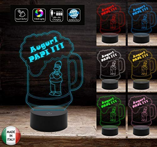 Idea regalo COMPLEANNO O FESTA DEL PAPA'Lampada led 7 colori Touch Boccale birra