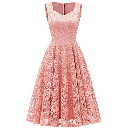 Willow S 🍀Women Fashion Lace Sleeveless Evening Pleated Party Dress Solid Elegant Cocktail Prom Ballgown Fancy Dress Pink