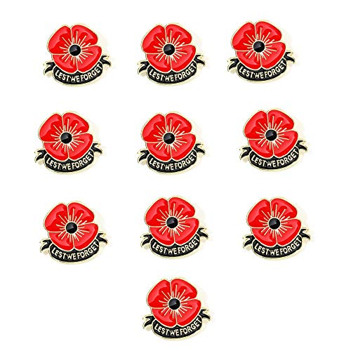 tagdot Royal British Legion Poppy Badges and Pins 2020 New Remember Lest we Forget (10 red - a Pack 3-2.7cm)