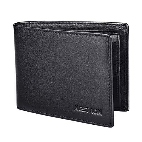 Geldbörse Herren mit RFID Schutz, Geldbeutel Männer aus Nappa Leder, Portemonnaie Herrenbörse Ledergeldbörse Geldtasche Portmonaise von Nestron