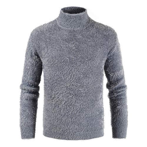 XLDD - Jersey de punto básico para hombre, de punto, suave, de punto clásico, color liso, para otoño e invierno, elegante, cálido C-grey XXL