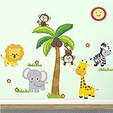 Jungle Wall Decal Fabric Wall Stickers Safari Nursery Wall Decal 100% Polyester Fabric, UL Greenguard...