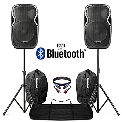 """VONYX Active Powered 12"""" Bluetooth DJ PA Disco Speakers + Stands Bags & Cables 1200W"""