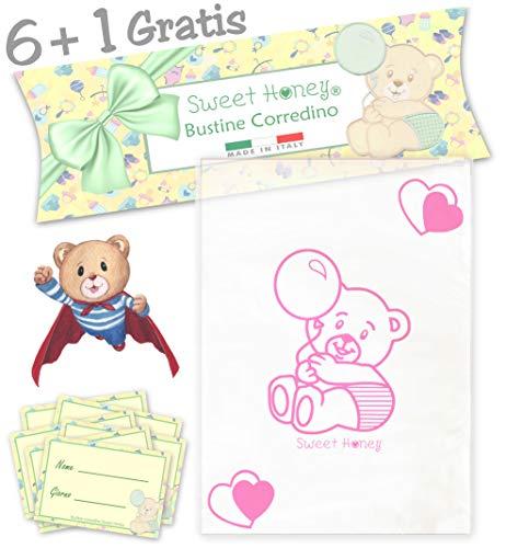 SweetHoney Bustine Primo Corredino Lista Nascita Neonato Ospedale Sacchetti Buste Trasparenti bebè Set Kit Post Parto Bimbo Bambina (Rosa)