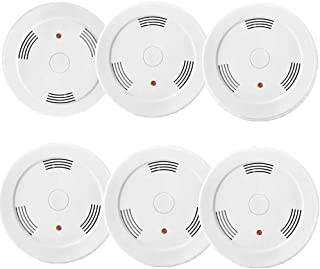 6 Pack Fire Alarms Smoke Detector Battery Operated with Photoelectric Sensor and Silence Button, Travel Portable Smoke Alarms