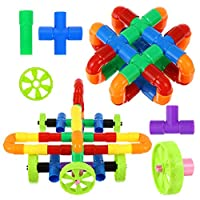 iplusmile 88個パイプと関節ビルディングブロック学習おもちゃ管状パイプ教育ビルディングブロックセットパイプ建設セット幼児エンジニアリングスキルトレーナー