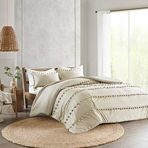 Elly Full/Queen 3pc Pom Pom Cotton Comforter Set Taupe