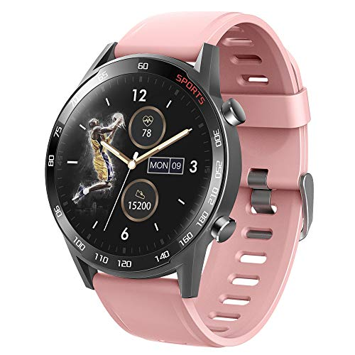 APCHY 2021 Nuevo Reloj Inteligente,Reloj de Fitness, Rastreador de Ejercicios con Oxígeno En Sangre, Presión Arterial, Monitor de Frecuencia Cardíaca,Smartwatch a Prueba de Agua IP67,Rosado