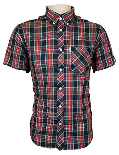 Brutus Herren Shirts MOD kariert Pocket T-Shirt UK S-2XL Gr. L, Schwarz (Tartan)